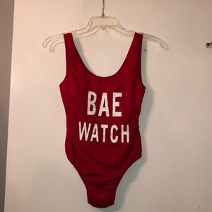 "Other - ""Bae Watch"" Red One Piece Swim Suit"